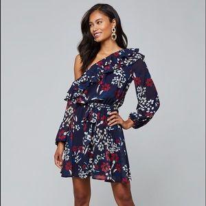 Bebe One Shoulder Floral Ruffled Long Sleeve Dress